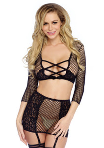 Fishnet Crop Top and Skirt Set