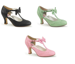 T-Strap Kitten Heel Pump with Bow