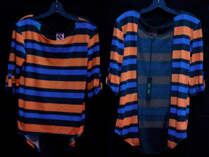 Orange/Blue /Black Girls Blouse with See-Through Back!