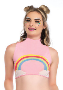 Pink Rainbow Crop Top