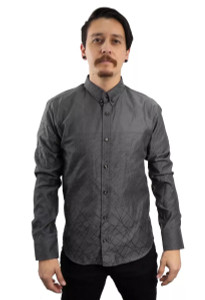 Fango Clothing - Grey Long Sleeve Minimalist Button Up Shirt