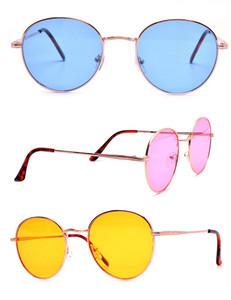 Modern Minimalist Tinted Round Sunglasses