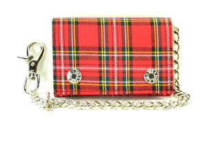 Red Plaid Wallet with Chain