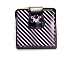 Striped Skull Black and Pink Wallet