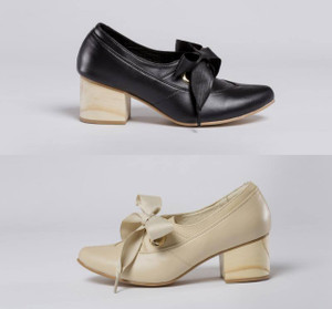 Victoria Lace Up Leather Shoes with Block Heel by Mitu