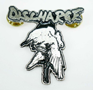 "Discharge Never Again 1.5x2"" Metal Badge Pin"