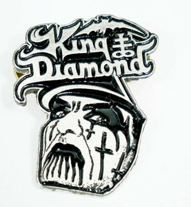"King Diamond 1 1/4x1 3/4"" Metal Badge Pin"