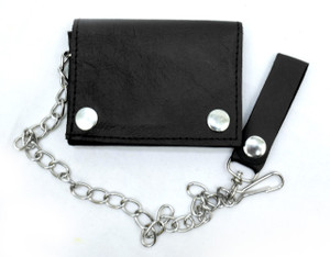 Black Granulated Leather Wallet with Chain