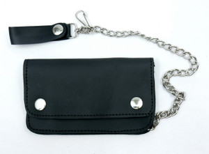 Black Rectangular Leather Wallet with Chain