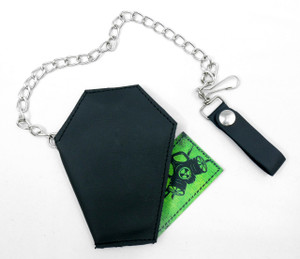 Coffin Shaped Leather Wallet with Chain