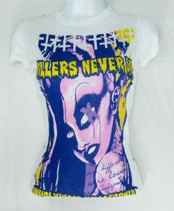 Killers Never Die Bride of Frankenstein Woman White T-Shirt Size Large