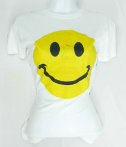 Happy Face Miprinted White Girls T-Shirt