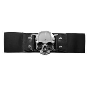 Kreepsville 666 - Elastic Waist Belt Skull Black