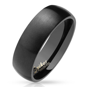 Matte Finish Classic Dome Black PVD Stainless Steel Band Ring
