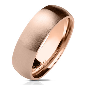 Matte Finish Classic Dome Rose Gold PVD Stainless Steel Band Ring