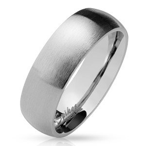 Matte Finish Classic Dome ChromePVD Stainless Steel Band Ring