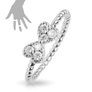 Ribbon Multi-Paved Gems Rhodium Plated Brass Mid-Ring/Toe Ring