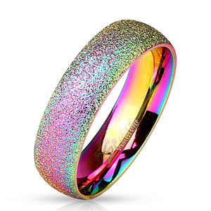 Sand Blast Finish Rainbow IP Classic Dome Ring