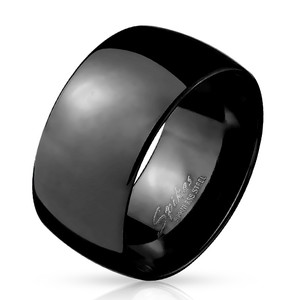 Wide Dome Stainless Steel Black IP Band Ring