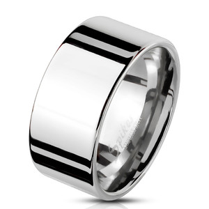 Mirror Polished Plain Flat Stainless Steel Wide Bend Ring