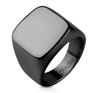 Square Signet Black PVD Plated Stainless Steel Ring