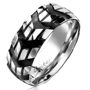 Repeating Debossed Black Chevron Signs Stainless Steel Ring