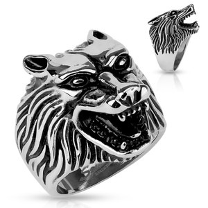 Wolf Head Stainless Steel Casting Ring