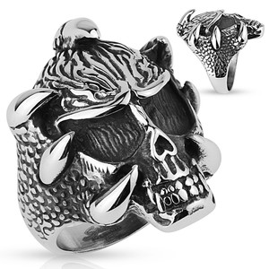 Skull with Claws Stainless Steel Ring