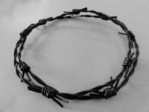 Black Leather Barb Wire Necklace