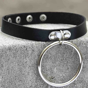 """O"" Ring Black Vegan Choker"