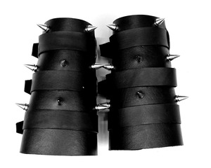 Road Warrior - Pair Leather Gauntlets with Metal Spikes