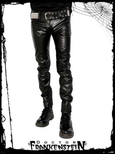 Black Gothic Vegan Leather Boot Cut Vinyl Pants