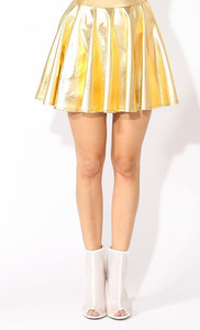 K Too - Gold Foil Pleated Skirt