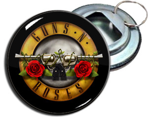 "Guns N' Roses Logo 2.25"" Metal Bottle Opener Keychain"