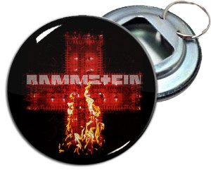 "Rammstein Burning Cross 2.25"" Metal Bottle Opener Keychain"