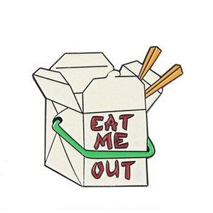 Eat Me Out Chinese Box Enamel Pin Badge