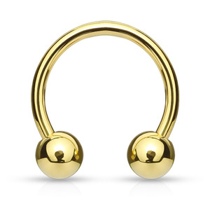 2x Gold Plated Over 316L Surgical Steel Horseshoe/Circular Barbells