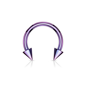2x Horse Shoe Titanium IP Over 316L Surgical Steel w/Cone in Purple