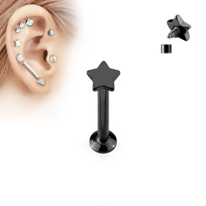 Star Top Internally Threaded 316L Surgical Steel Labret in Black