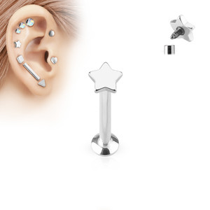 Star Top Internally Threaded 316L Surgical Steel Labret in Silver