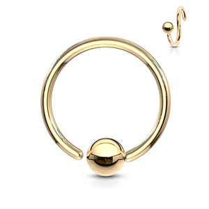 One Side Fixed Ball Ring IP Over 316L Surgical Steel in Gold