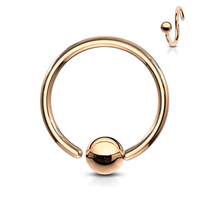 One Side Fixed Ball Ring IP Over 316L Surgical Steel in Rose Gold