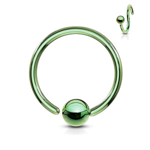One Side Fixed Ball Ring IP Over 316L Surgical Steel in Green