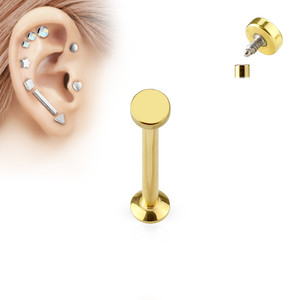 Round Top Internally Threaded 316L Surgical Steel Labret in Gold