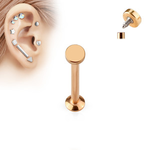 Round Top Internally Threaded 316L Surgical Steel Labret in Rose Gold