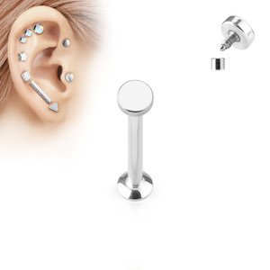 Round Top Internally Threaded 316L Surgical Steel Labret in Silver