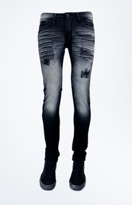 Clash Damage Clothing - Black Acid Wash Jeans