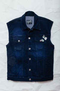 Blue Denim Vest with Enamel Pins