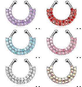 Double Line Paved Gem Non-Piercing Septum Hanger