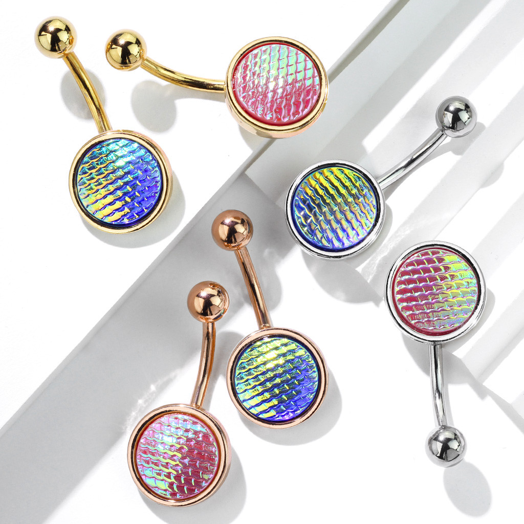 Holographic Dragon Scale 316l Surgical Steel Belly Button Rings